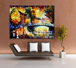 Modern Drawing Oil Paint Canada - Bridge Riverside Night Landscape Painting Palette Knife Oil Drawing Canvas Printings Modern Mural Art for Home Hotel Office Wall Decor