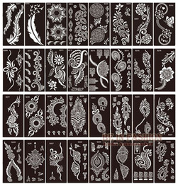 body template for tattoo design NZ - 50pcs lot henna tattoo stencils for painting body art glitter tatoo stencil templates on hand feet Indian Arabic designs sheets