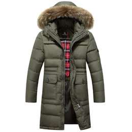 Barato Verde Para Baixo Jaqueta Homens-Inverno Green 90% Duck Down Inverno Jacket Thick Warm Long Fur Destacável Hooded Winter Parkas 3XL Down Jacket Man 50off