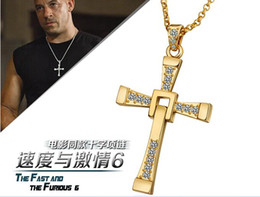 $enCountryForm.capitalKeyWord Canada - FAST and FURIOUS Dominic Toretto's Cross Pendant Necklace 18k gold mens' Cross Necklace Chain Pendant Crucifix free shipping Best gift