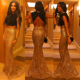 Barato Ouro Baixo Lantejoulas Vestido-Quente! Frete grátis 2015 New Gold Sequin Black Two Pieces Backless Mermaid Evening Dresses Low Back Sexy Prom Dresses Vestidos Evening Gowns