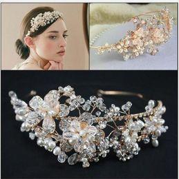 Discount gold pearl crown - 2015 Gold Vintage Bridal Jewelry Headpiece Imitation Pearl Hair Accessories Crystal Hair Band headbands Bridal Crown Tia