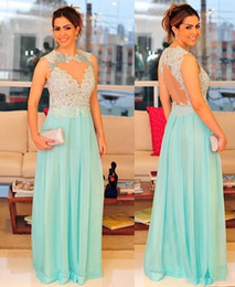 Barato Vestidos De Noite Chiffon-High Neck Night Celebrity Dresses 2015 Lace Appliques Chiffon Sky Blue Prom Vestido Sexy See Through Crystal Formal Party Dress For Gala