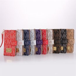 Vente en gros Portefeuille de luxe Flip PU Housse en cuir pour iphone x xs max 7 8 6 6 s ainsi que des étuis pour cartes à sous avec lanière couverture pour Samsung s7 s8 s9 note 9 8