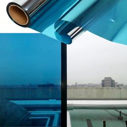 Privacy film windows online shopping - 2018 Self Adhesive DIY Blue One Way Mirror Finish Vinyl Daytime Privacy Mirror Window Film x30m x98ft