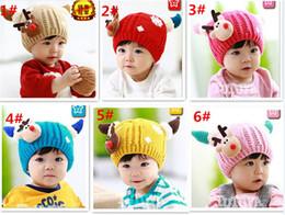 $enCountryForm.capitalKeyWord Canada - 150pcs fashion 6 clolors Baby Deer Beanie Skull Caps Crochet Hat Kids Cartoon Baby Fleece Warm Hat Headwear for Winter D474