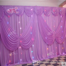 White Wedding Table Settings Canada - Beautiful Design Purple Wedding Backdrop10ft*20ft ice Silk White Color with Butterfly Swag Wedding Drape Curtain Backdrop
