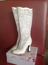 Mid Heels Wedding Shoes Canada - Actual Picture White Lace Bridal Wedding Boots Shoes 6cm Mid Heels Sheer Lace Prom Evening Party Boots Custom Made Bridal Long Shoes
