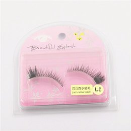 beautiful eyelashes Canada - 100% Mink Hair False Eyelashes Handmade Natural Long Thick 3D Eyelashes Fake Eye Lash extensions Black Beautiful Eyelashes With Package #L3