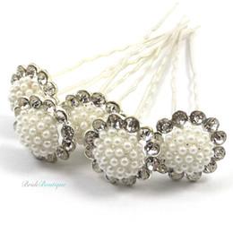 $enCountryForm.capitalKeyWord NZ - Bridal Wedding Vintage Style Silver Diamante & Pearl Flower Hair Pins Clips Flower White Pearl Rhinestone Crystal Hairpins Hair Accessory