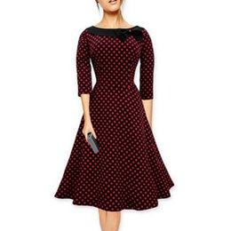 1d501fd9597 Women Polka Dot Winter Dress UK - 2017 Autumn Winter Women polka dot 50s  vintage-