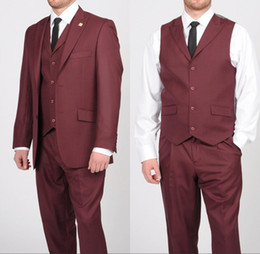 $enCountryForm.capitalKeyWord NZ - Modest Burgundy Party Suit Groom Tuxedos Best Man Suit Bridegroom Wedding Evening Ball Gown Suit Two Buttons Three-piece Peaked Lapel S-q184