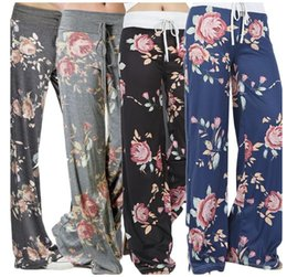 Wide Legged Yoga Pants Canada - yoga pants ladies floral palazzo trousers womens summer wide leg pants plus size Leisure wear