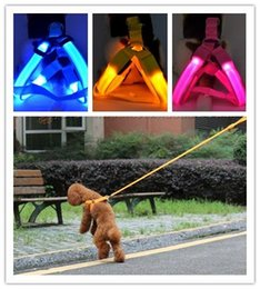 Light Dog Collar Belt Canada - 30% off 7 Colors Battery Operated LED Flashing Dog Harness Collar Belt Pet Cat Dog Tether Safety Light Collars Pet supplies 10PCS By DHL 520