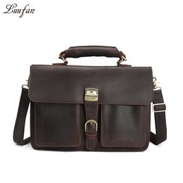 "vintage tote chain bag UK - Vintage Men's Genuine Leather briefcase 16"" Cowhide Business bag Cow leather Laptop Double Layer messenger bag PC work tote"