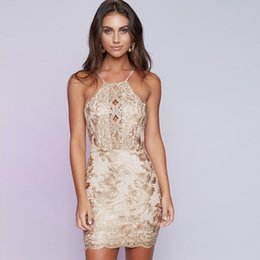 Backless cluBwear mini dress online shopping - New Embroidery Bodycon Party Dress Halter Backless Short Prom Dress Gold Floral Evening Cocktail Dresses Clubwear LJG1103