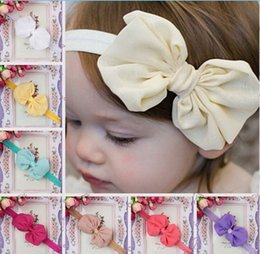 $enCountryForm.capitalKeyWord Canada - Fashion baby girl chiffon big bowknot headbands kids toddler stretch headband Children's Hair Accessories charm jewelry 14colors party gift