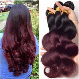 Discount two bundles remy virgin hair - Grade 8A Ombre Malaysian Body Wave Virgin Human Hair Extensions 2 Two Tone 1B 99J Burgundy Wine Red Remy Hair Weave Weft