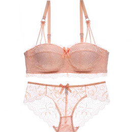 0023cd3701 Many colors one-piece young girls fresh lace bralette half cup push up thin  thick lingerie sexy seamless women underwear bra set