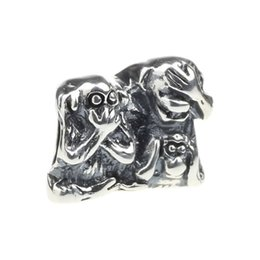 $enCountryForm.capitalKeyWord UK - Beads Hunter Jewelry Authentic 925 Sterling Silver No Evil, Speak No Evil Monkey Charm big hole bead For 3mm European Bracelet snake chain