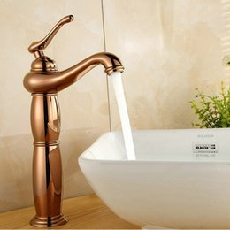 rose gold handles Canada - New classcial design rose gold plated brass basin faucet Single Handle Deck Mounted Mixer Taps A4124