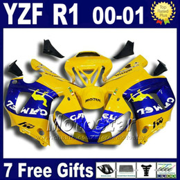 $enCountryForm.capitalKeyWord Canada - Yellow CAMEL body kit for YAMAHA 2000 2001 YZF R1 fairing kits yzf1000 00 01 yzfr1 fairings set bodywork U7W + 7 gifts