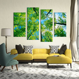 ideas for painting walls 2019 - 4 Panel paints green tree on the sky views modern art Wall painting print on canvas for home decor ideas paints pictures