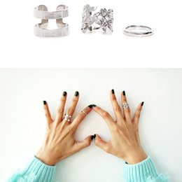 stack rings wholesale Australia - Wholesale- 2017 Hot 3pcs lot Shiny Punk Style Silver Stacking Above Knuckle Rings Band Midi Finger Charm Leaf Ring Set for Womens Jewelry
