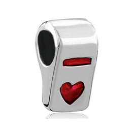 European Chamilia Biagi Charm Bracelets UK - Metal Slider Spacer Large Hole Wholesale Red Heart Love Whistle Shaped European Bead Fit Pandora Chamilia Biagi Charm Bracelet