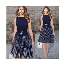 88b5187b8c7 2016 new Europe sleeveless crew neck Polka Dot Dress with a belt S-XXL size