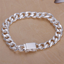$enCountryForm.capitalKeyWord NZ - Fashion Men's Jewelry 925 sterling silver plated Figaro chain bracelet 10MMX20CM Top quality free shipping