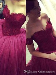 Robe Sweetheart Sweet Sweet Sweetheart Pas Cher-2016 Purple Lace Off robes de Quinceanera Shouler boule de cristal robe bonbon 15 sweetheart robe Robe De Festa long Tulle robes de bal formelle