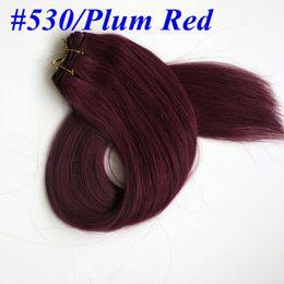 $enCountryForm.capitalKeyWord Canada - Top Quality 100% Human Hair weaves straight hair bundles 100g 22inch #530 Plat Red hair wefts Brazilian Indian hair Extensions