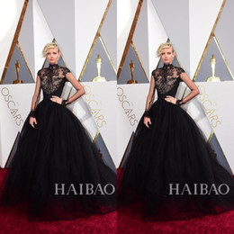 Celebrity Occasions Dresses NZ - 2019 88th Oscar Black Lace Dorith Mous Celebrity Evening Dresses High Neck Long Sleeves Sweep Train Special Occasion Ball Gowns Prom Pageant
