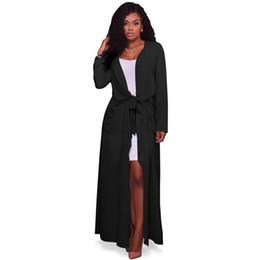 Discount black dusters - Wholesale-2017 New Fashion Trench Coat for Womens Plus Size Summer Chiffon Trench Women Cardigan Casual Long Duster Tren