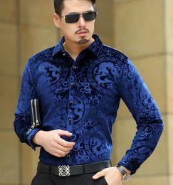 $enCountryForm.capitalKeyWord Canada - Top Fashion Trendy Luxury Mens Silk Shirts Formal Turn Down Collar Black Blue Velvet Shirt Slim Fit Dragon Pattern Shirts