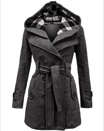 $enCountryForm.capitalKeyWord UK - New Women Coats 2015 Europe Station Women's Fashion Slim Double-breasted Coat Long Hooded with Belt Winter Cotton Coats for Women