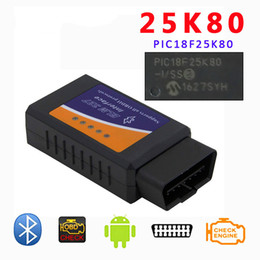 bluetooth v1.5 obd2 Canada - ELM327 25K80 OBD2 scan 0BD chip Bluetooth with Bluetooth hardware version V1.5