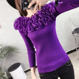 Lace Knit Stitches Canada - New arrive Women's Autumn Winter sweater knitwear Girl's Fashion flowers slim Sexy Pullover Sweater fungus Lace sexy Knitting sweater