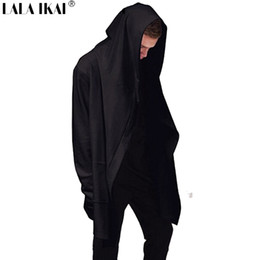 Barato Atacado Preto Mens Atacado-Atacado-Novo Avant-garde Big capa Duplo Coat-Brasão Mens Hoodies Moletons Preto Capa de Assassins Creed Jacket Outwear Oversize SMC0042-5
