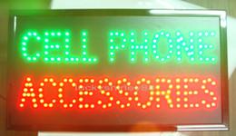 Atacado 2016 new arrival led celular acessórios assinar super brilhantemente de led celular acessórios loja aberta 10 * 19 polegada interior