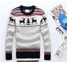 Barato Cervos De Malha-Wholesale-Hot Selling 2016 Fashion Desportivo Christmas Deer camisola feia For Man Quente camisola de malha de lã Casual Plus Size Capuz Knitwear