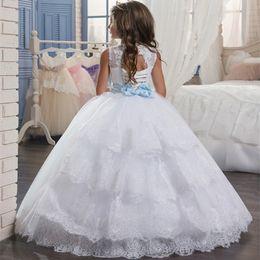 $enCountryForm.capitalKeyWord Canada - Custom Made Flower Girl Dresses for Wedding Blush Pink Princess Tutu Sequined Appliqued Lace Bow 2018 Vintage Child First Communion Dress