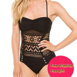 Crochet Swimsuits Canada - Sexy Lace Crochet One Piece Swimwear New Fashion Top Halter Monokini Vintage Hollow Women Swimsuit Free Shipping Swim CH-323
