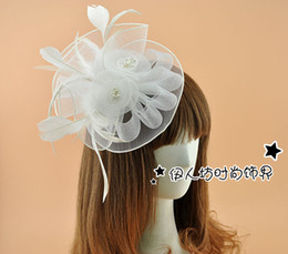 Pincée De Cheveux En Plume Blanche Pas Cher-White Flower Feather nuptiale Accessoires cheveux Barrette Chapeaux de mariage mariée ornements Parti Ladies Fascinator Hat Feather Flower Fas