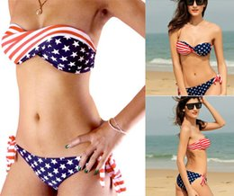 small gathered bikini 2019 - American flag bikini swimsuit Large chest small chest gather bikini fashion Swimwear sexy swimsuit for ladies girls 1901
