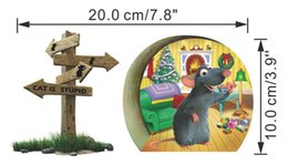 $enCountryForm.capitalKeyWord NZ - 3D Effect Cat Is Stupid Christmas Mouse Rat Hole Wall Sticker Decal Children Baby Kids Room Window Wall Stickers