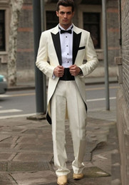 tuxedo long back gray NZ - Free EMS Custom made italian western wedding long style groom man tuxedos Luxury ivory men's suits men tuxedos groomsmen dress