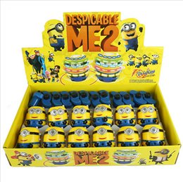 $enCountryForm.capitalKeyWord Australia - 12pcs lot Single Laser LED Gyro Music Despicable Me colorful Light flash gyro electric toy Minions gyroscope baby kids gift toys