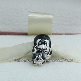 Animals Families Canada - 100% S925 Sterling Silver Penguin Family Charm Bead with Black Enamel Fits European Pandora Jewelry Bracelets Necklaces & Pendant